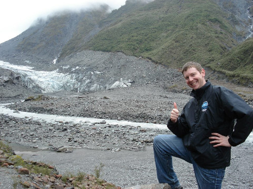 In front of the Fox Glacier, New Zealand