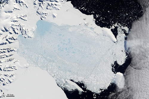 Early Larsen B ice shelf collapse in 2002 (from NASA)