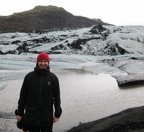 In front of Mýrdalsjökull (Mire Dale Glacier) that flows from an ice cap on the Katla volcano.