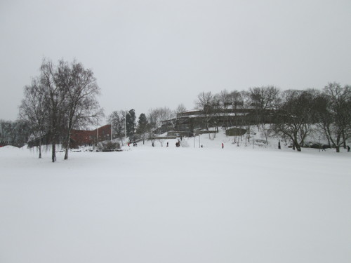 A snowy day at Stockholm University.