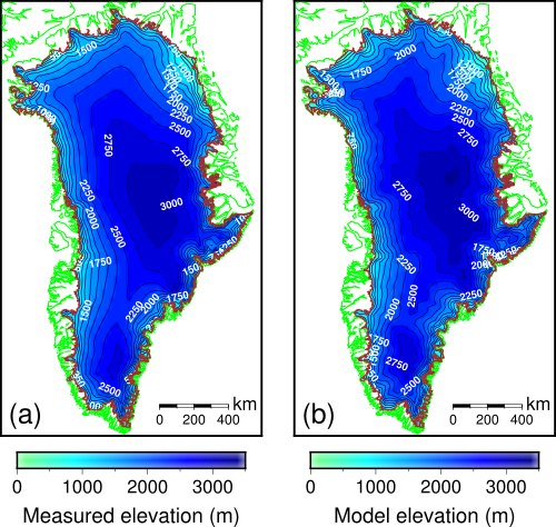 Comparison of the (a) true and (b) reconstructed topography of the modern Greenland Ice Sheet.